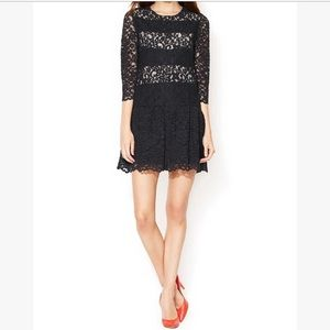 SANDRO Black Lace Overlay Dress with Dropped Waist